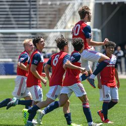 Tanner Tessmann (10) celebrating his goal during the opening match of the 40th Annual Dallas Cup.