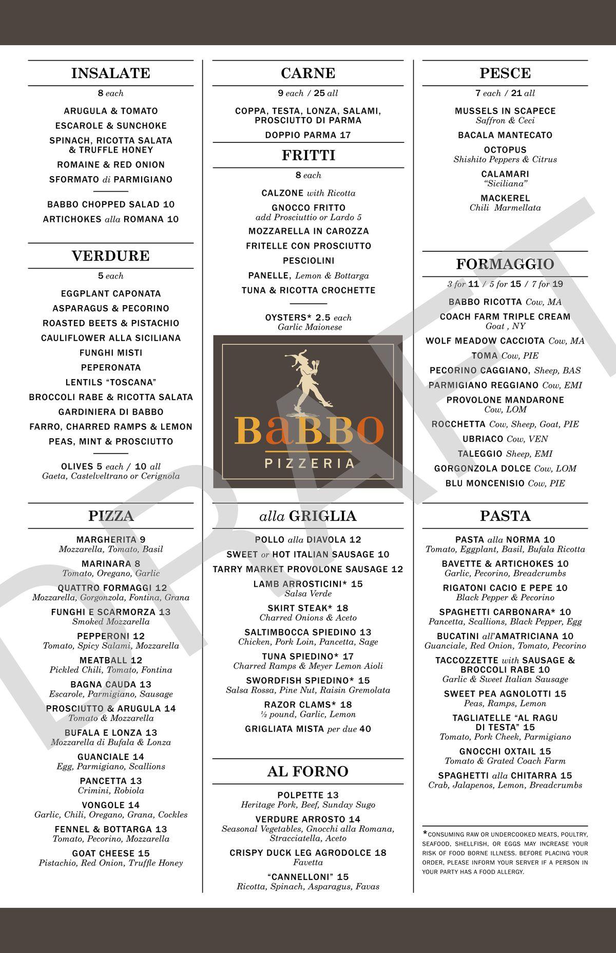 Babbo boston menu