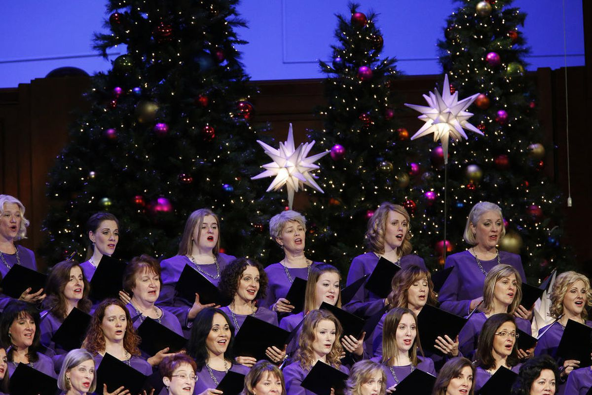 """""""Come, Thou Fount of Every Blessing"""" is part of the Mormon Tabernacle Choir's repertoire. The choir is show here singing during the LDS Church First Presidency's Christmas devotional in Salt Lake City on Sunday, Dec. 4, 2016."""
