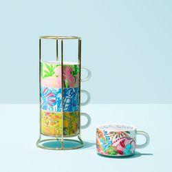 Ceramic mug set with gold caddy, $30