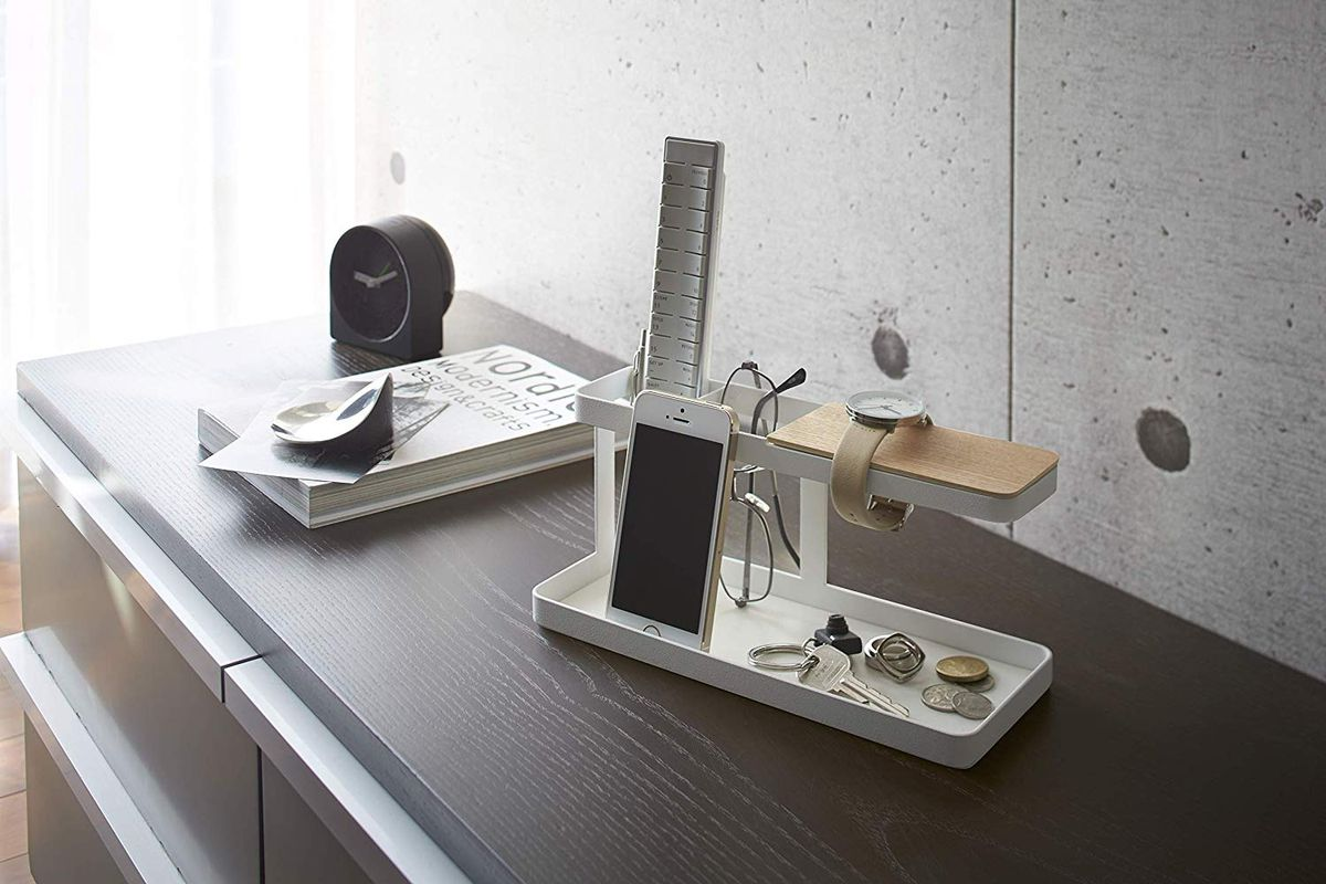 Tabletop accessory holder with two levels.