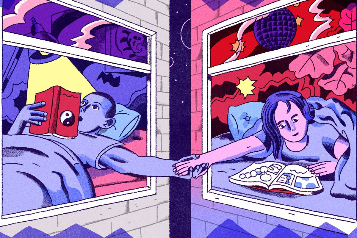 A man and woman hold hands through two open windows. Illustration.