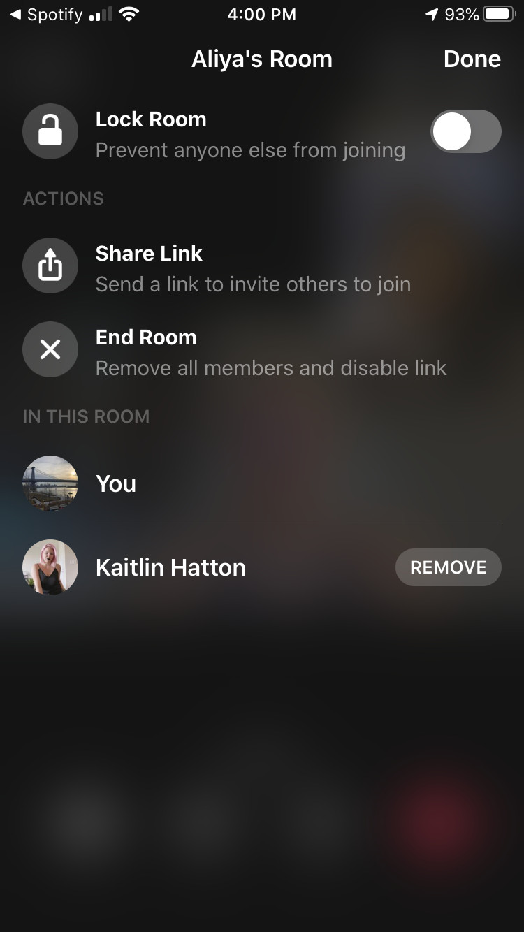 You will see options to lock the room, share the link for the room and end the room. At the bottom, you can see who's on the call, with a & # 39; Delete & # 39; next to the other participants.