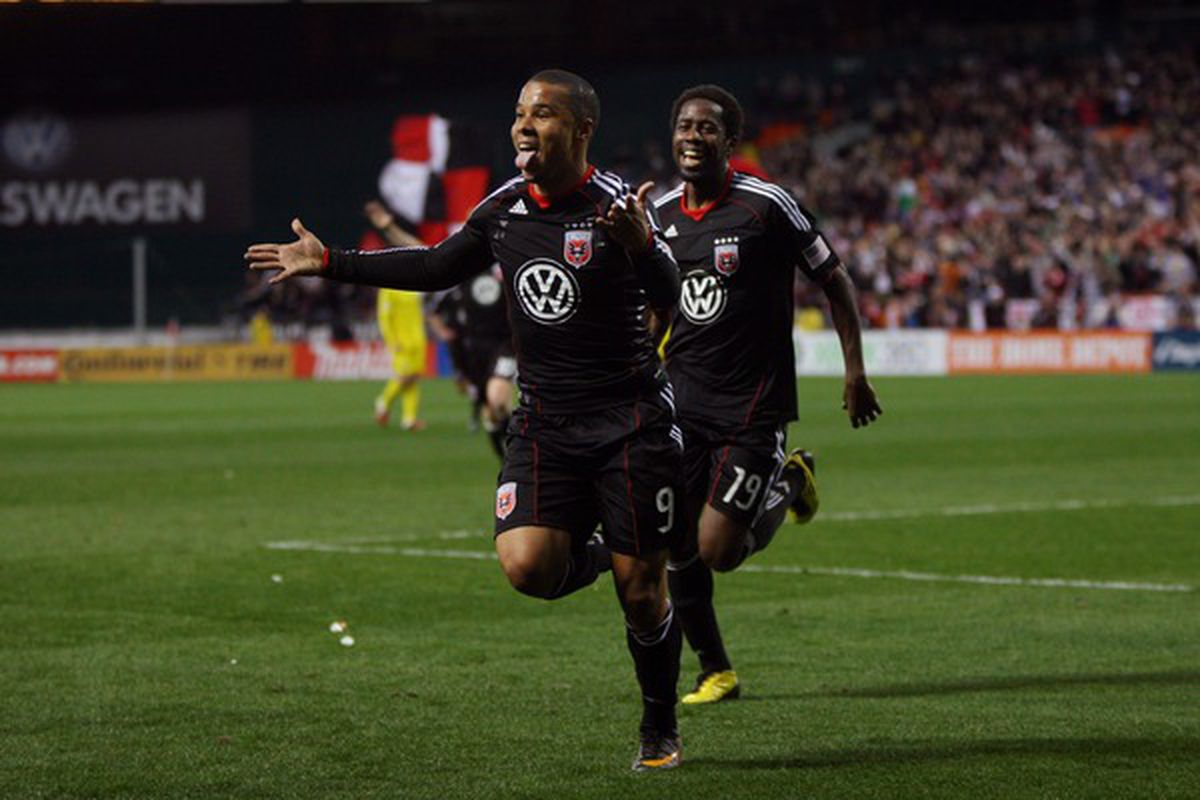 WASHINGTON, D.C. - MARCH 19: Charlie Davies #9 of D.C. United celebrates after scoring a goal against the Columbus Crew at RFK Stadium on March 19, 2011 in Washington, DC. (Photo by Ned Dishman/Getty Images)