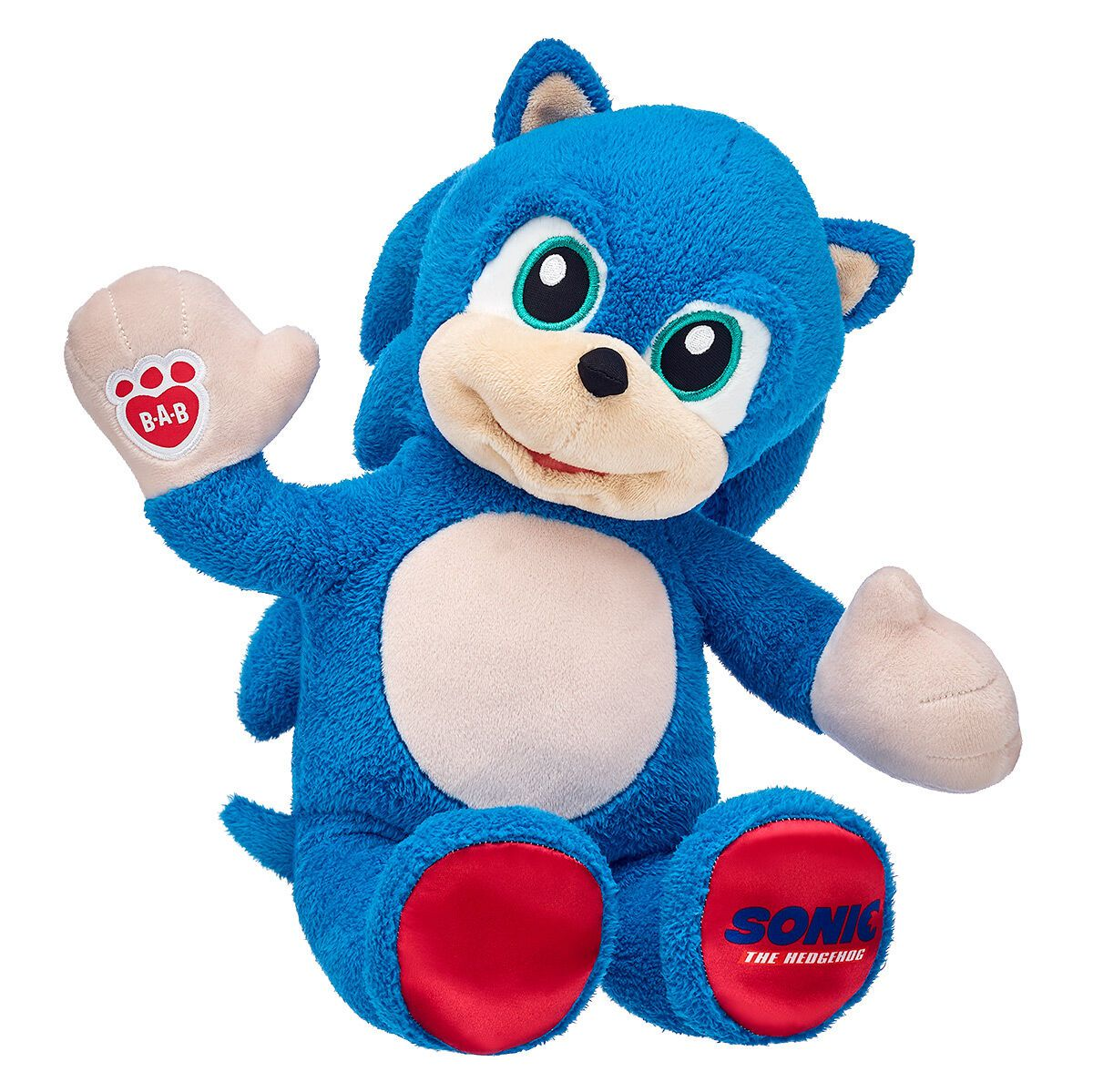 A Sonic the Hedgehog stuffed animal sitting and waving