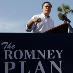 Republican presidential candidate, former Massachusetts Gov. Mitt Romney speaks during a campaign event at Flagler college, Monday, Aug. 13, 2012, in St. Augustine, Fla.