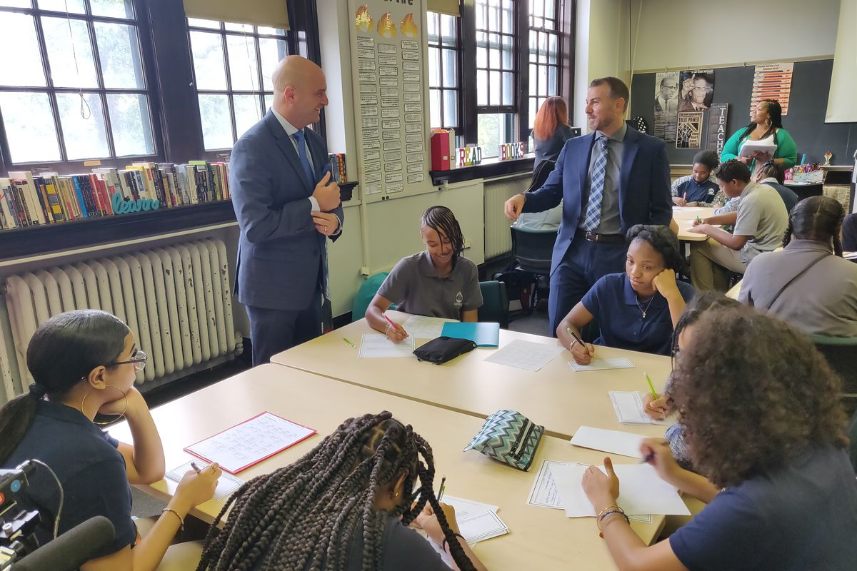 Nir Saar, right, and Superintendent Nikolai Vitti on the first day of classes at the School at Marygrove, the ambitious new school Saar helped found. He has been placed on administrative leave.