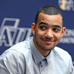 Trey Lyles smiles as the Utah Jazz introduce draft picks Trey Lyles (12 overall) from University of Kentucky and Olivier Hanlan (42 overall pick) from Boston College June 26, 2015, in Salt Lake City.