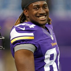 Aug 9, 2013; Minneapolis, MN, USA; Minnesota Vikings wide receiver Cordarrelle Patterson (84) looks on during pre game before a game against the Houston Texans at the Metrodome..