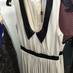 Georgette dress with leather, $125 (was $225)