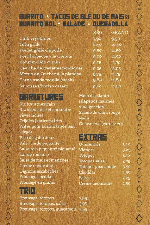 Menu courtesy Burrito Revolucion