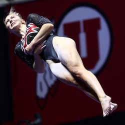 Utah's Lucy Stanhope spins during her vault as Utah and Washington compete in an NCAA gymnastics meet at the Huntsman Center in Salt Lake City on Saturday, Jan. 30, 2021. No. 4 Utah won 197.475 to 193.300.