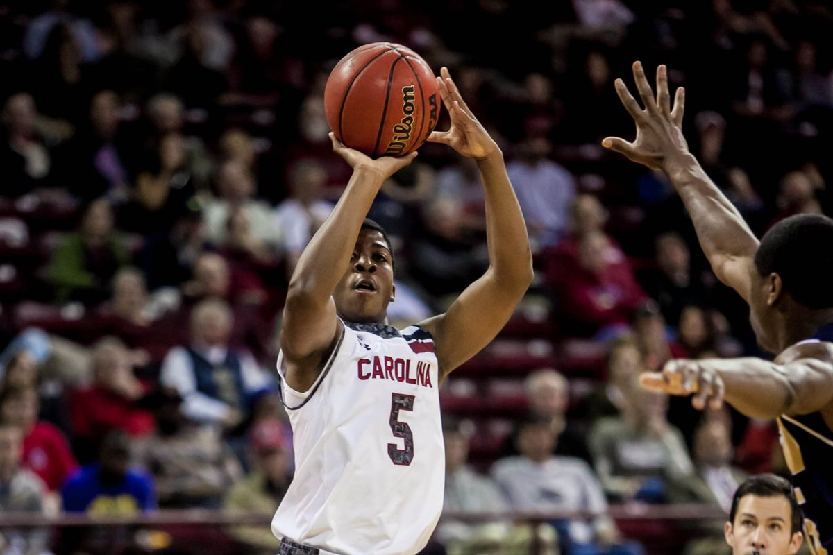 Jaylen Shaw played his first significant minutes of the season in the Gamecocks' 84-72 win over FIU on Sunday.
