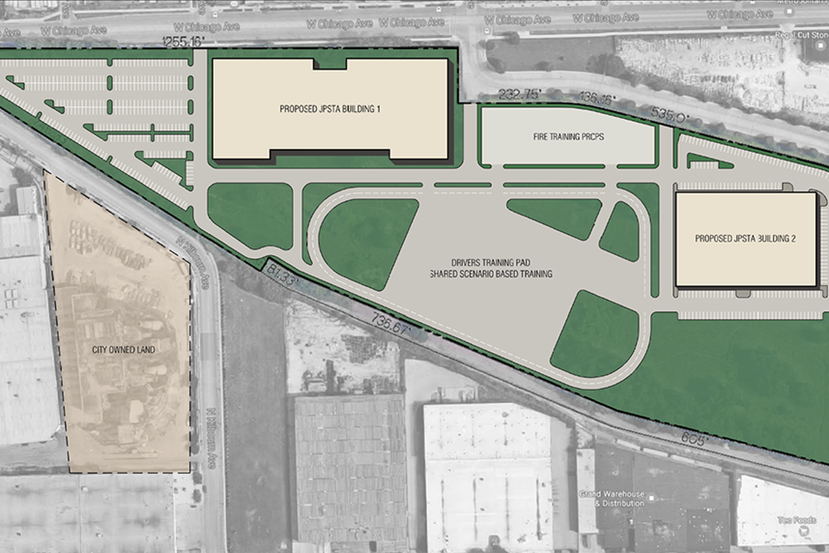The site plan for the new public safety training center to be built in West Garfield Park.