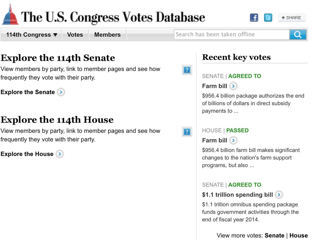 Screenshot of The U.S. Congress Votes Database