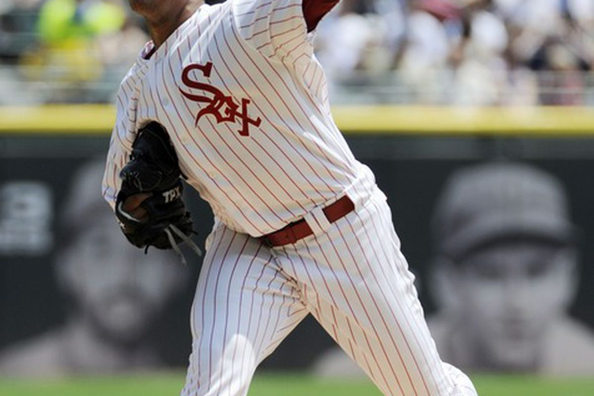 June 24, 2012; Chicago, IL, USA; Chicago White Sox pitcher Jose Quintana (62) pitches against the Milwaukee Brewers in the first inning at U.S. Cellular Field.  Mandatory Credit: David Banks-US PRESSWIRE
