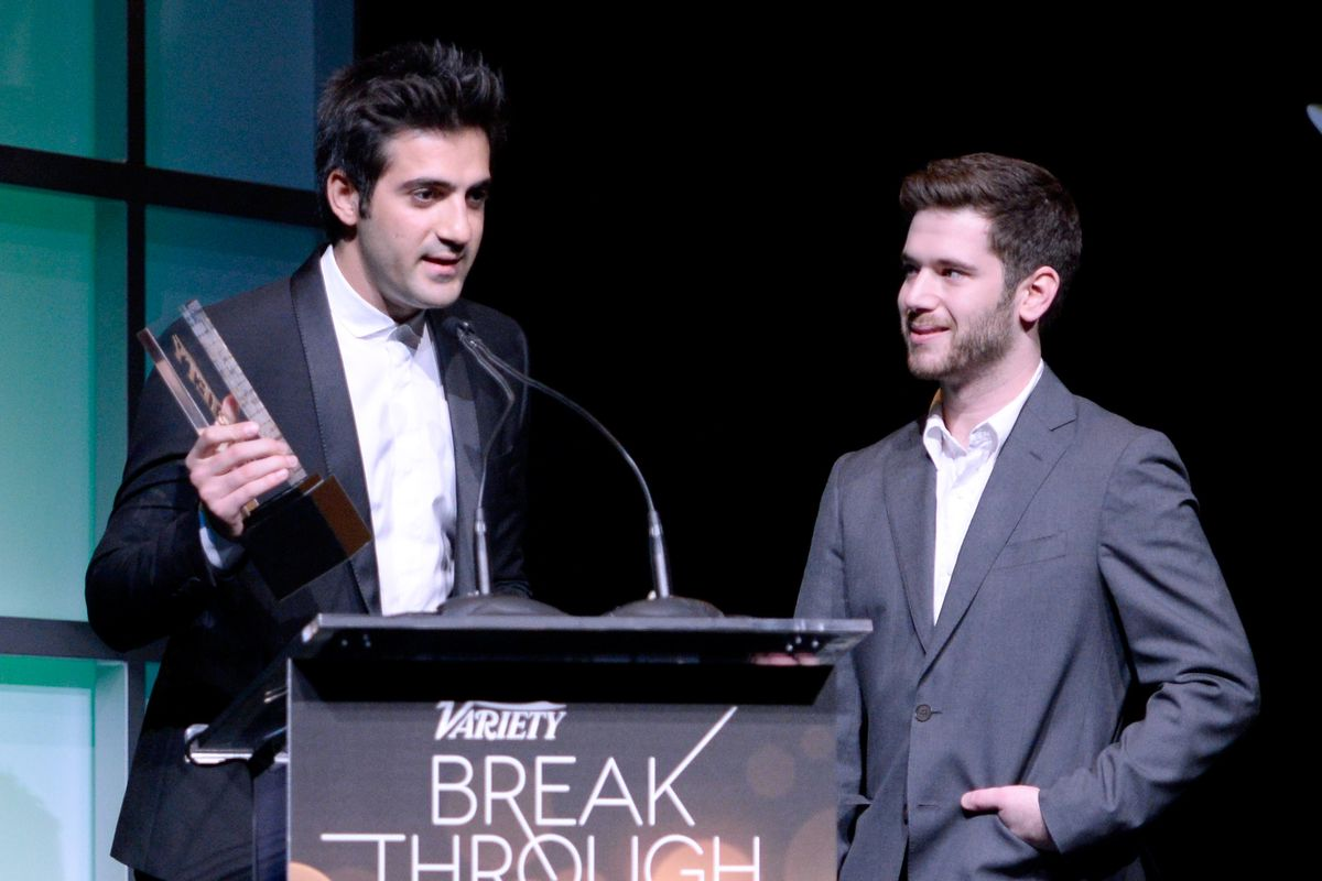 HQ co-founders Rus Yusupov and Colin Kroll onstage accepting an award