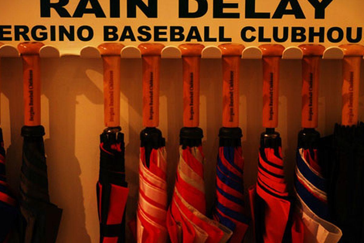 "Umbrellas at baseball-obsessed shop Bergino via <a href=""http://www.flickr.com/photos/timschreier/5052253639/in/pool-312691@N20/"">Tim Schreier</a>/Racked Flickr Pool"