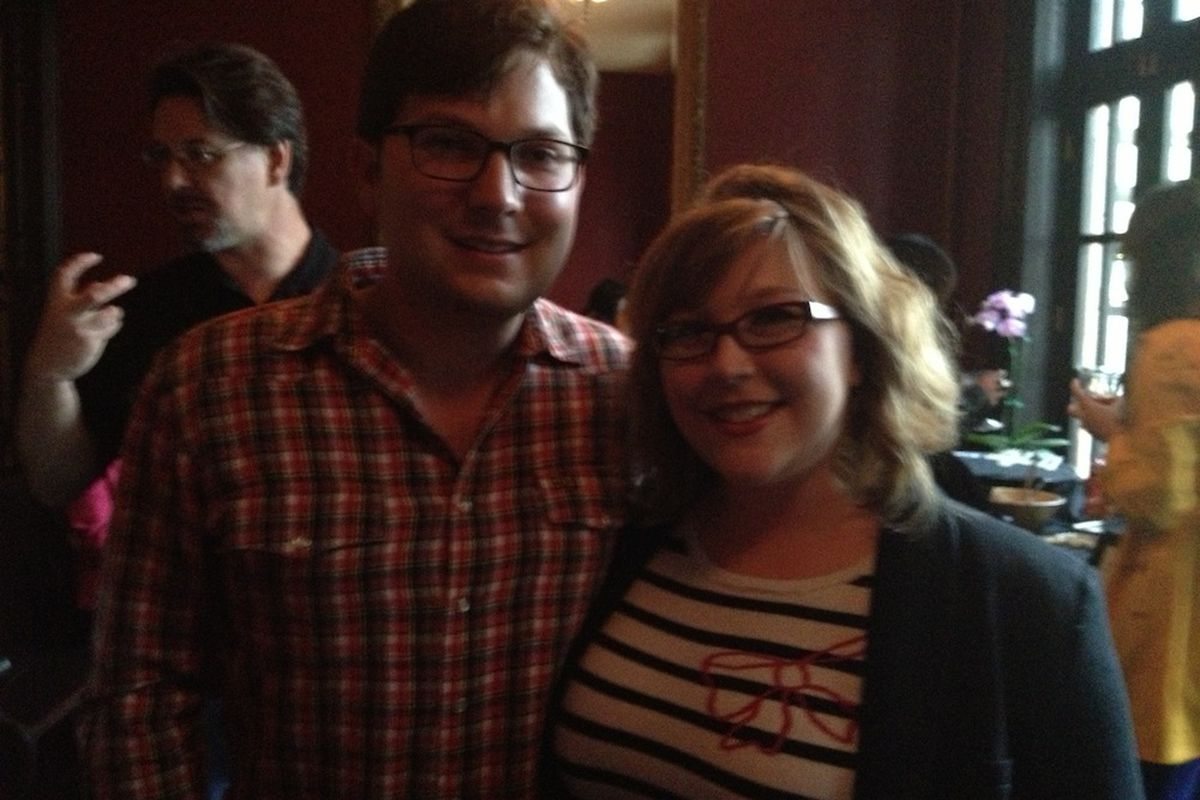 Shilcutt with Urban Harvest market manager Tyler Horne at last month's Gala Eater Party