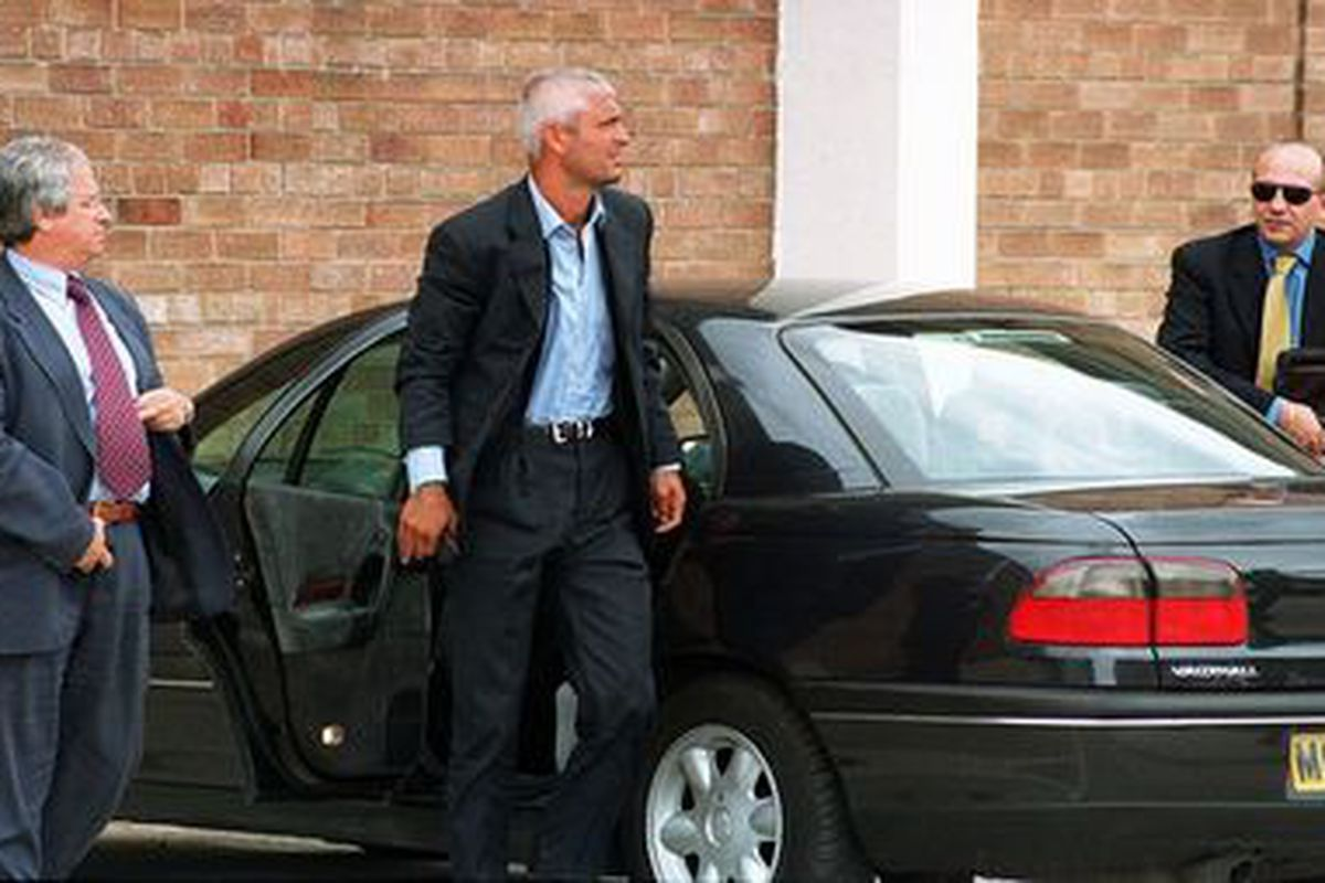 Fabrizio Ravanelli arrives at Bellfield before his aborted transfer from Middlesbrough in 1997