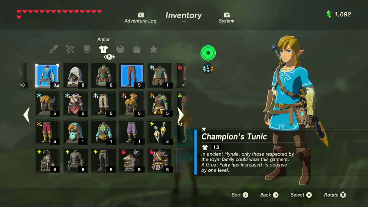 a23fc8a8a332 The Champion's Tunic is a unique piece of armor and it requires difficult  to find items to upgrade — shards of horn from Hyrule's three dragons.