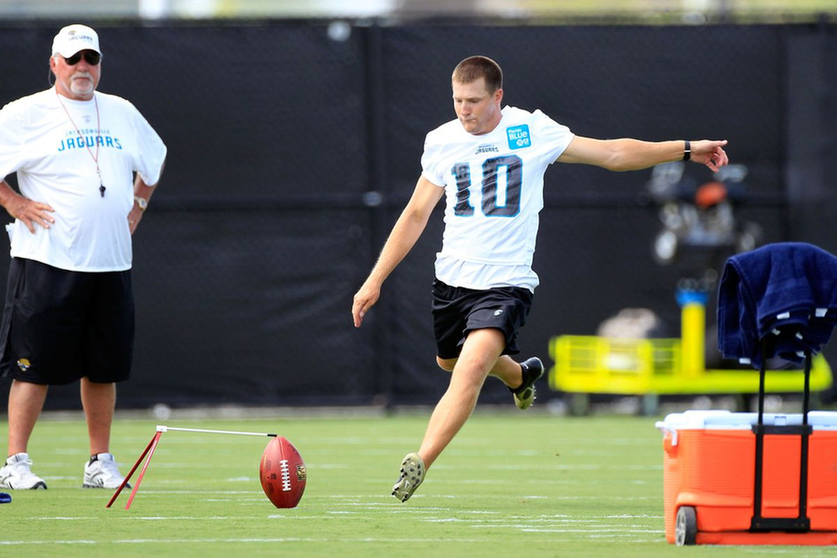 JACKSONVILLE, FL - JULY 28:  Kicker Josh Scobee #10 of the Jacksonville Jaguars takes part in training camp at Florida Blue Health and Wellness practice fields on July 28, 2011 in Jacksonville, Florida.  (Photo by Sam Greenwood/Getty Images)