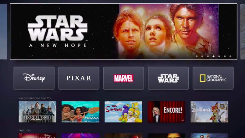 The Disney+ interface feels empty but elegant compared to