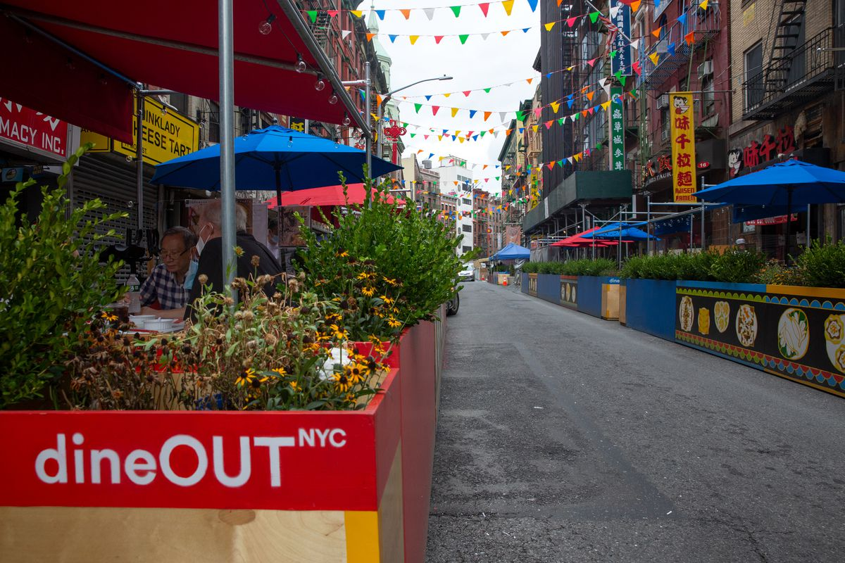 The lower section of Mott Street near Bowery had outdoor restaurant seating on both sides of the street, Sept. 2, 2020.