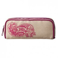 Rectangle Case in gold Linen with Pink Paisley $12.99