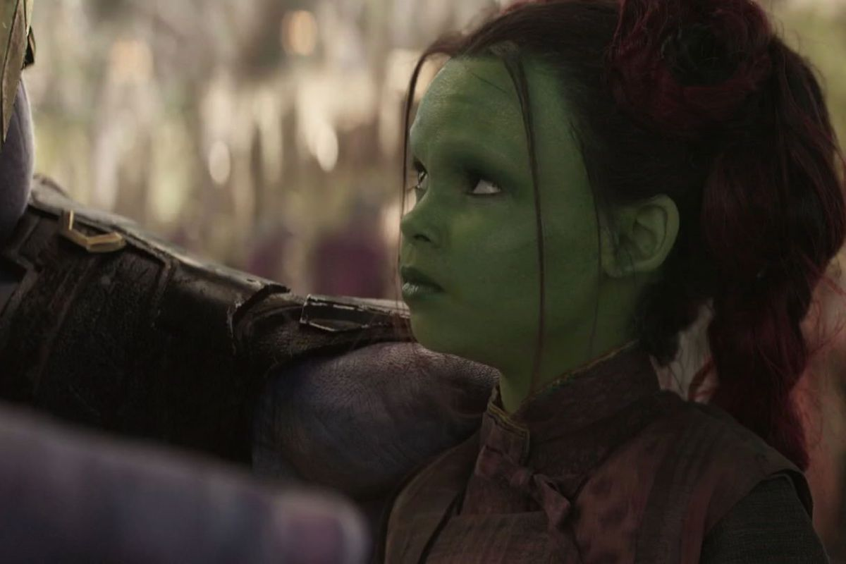 Thanos and young Gamora in Avengers: Infinity War