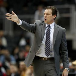 Utah Jazz head coach Quin Snyder stands on the sideline in the first quarter of an NBA basketball game against the Atlanta Hawks in Atlanta, Monday, Jan. 22, 2018. (AP Photo/David Goldman)