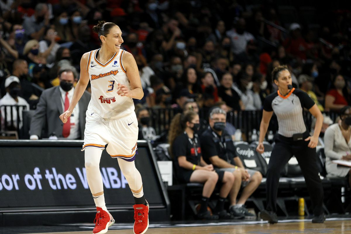 Diana Taurasi #3 of the Phoenix Mercury reacts after hitting a 3-pointer against the Las Vegas Aces during Game Two of the 2021 WNBA Playoffs semifinals at Michelob ULTRA Arena on September 30, 2021 in Las Vegas, Nevada.
