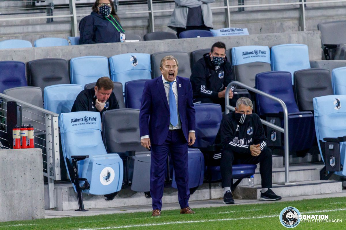 November 4, 2020 - Saint Paul, Minnesota, United States - Minnesota United head coach Adrian Heath shouts during thee match against the Chicago Fire at Allianz Field.