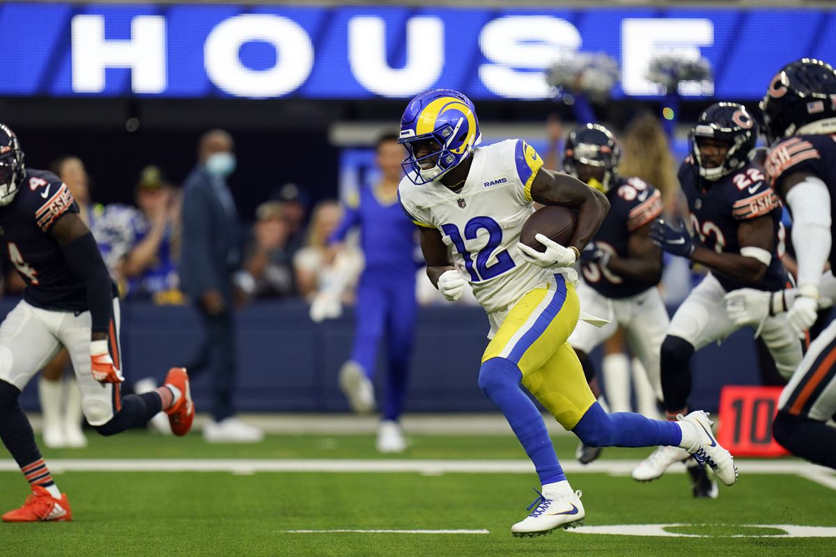 Rams wide receiver Van Jefferson scores on a 67-yard touchdown reception from Matthew Stafford on the Rams' third offensive play of the game Sunday night at SoFi Stadium in Inglewood, Calif.