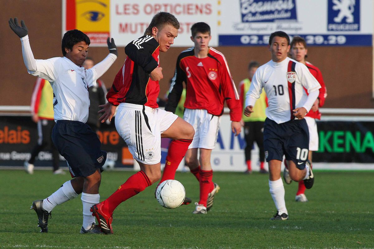 This file photo of the US U-16s from 2008 sees Orozco challenging for the ball with Tim Scheffler of Germany.