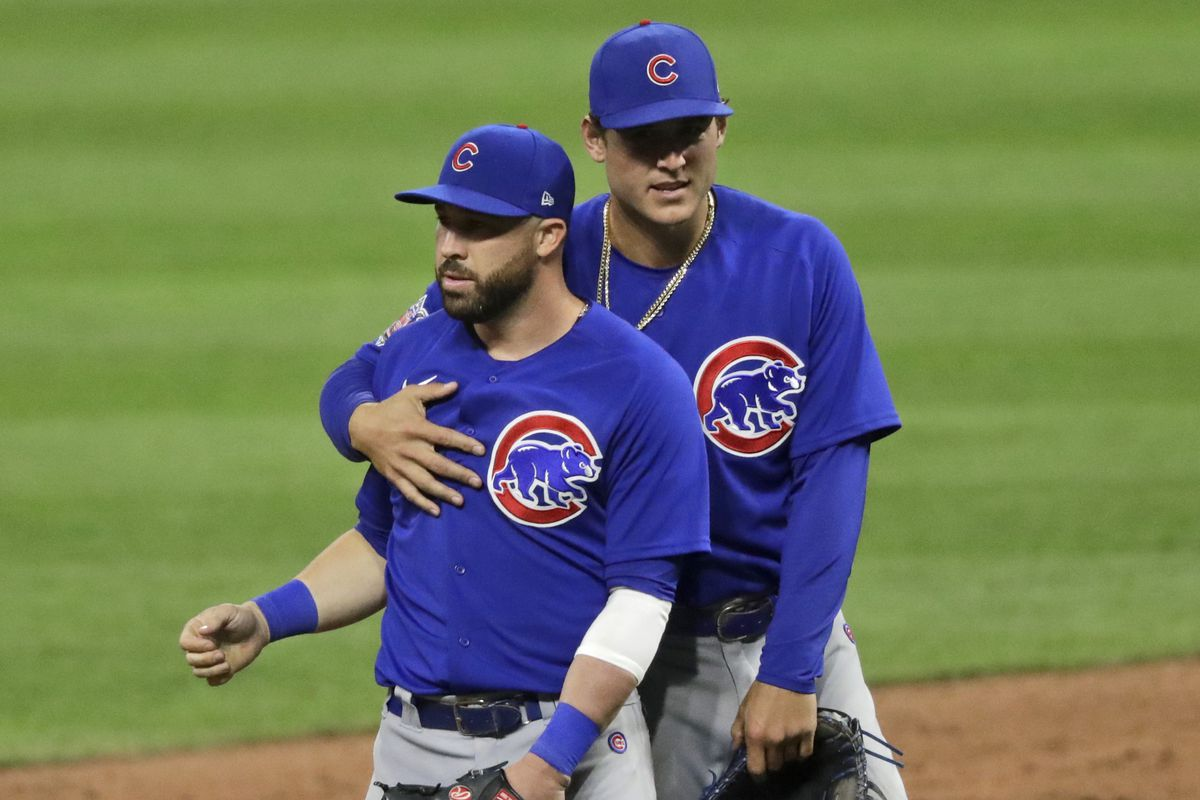 """""""I'm not going to shy away from this, this could be our last year together,"""" the Cubs' Anthony Rizzo (right) said."""