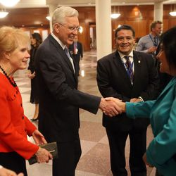 Elder D. Todd Christofferson and his wife, Kathy, greet guests prior to his speech to a group of about 300 Latin journalists from 24 nations participating in the 73rd general assembly of the Inter American Press Association at the Conference Center Theater in Salt Lake City, Saturday, October 28, 2017.