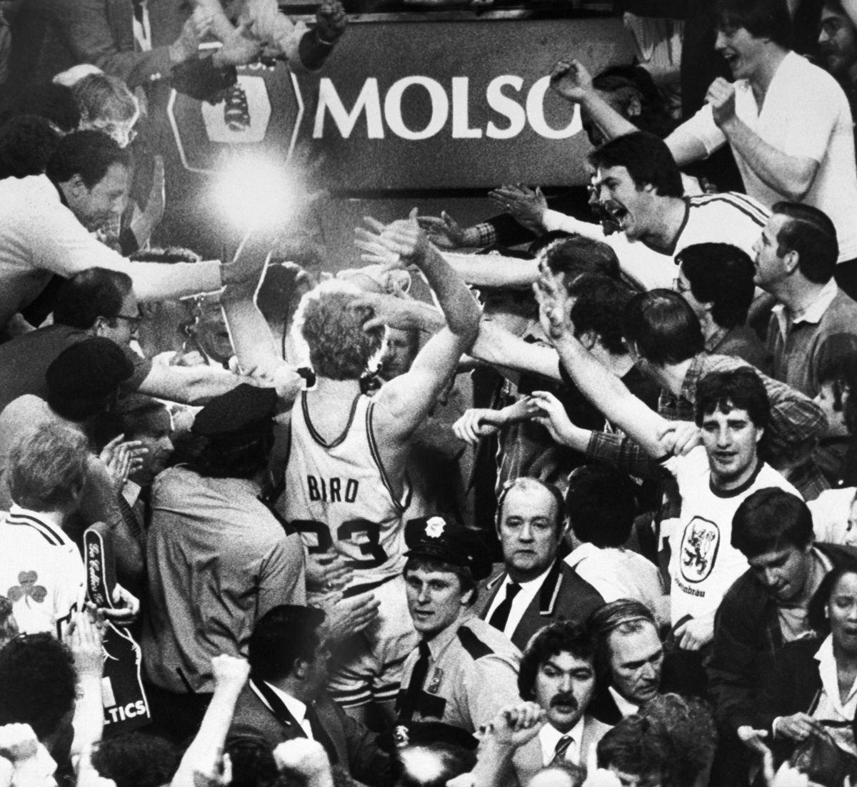 Larry Bird Celebrating Victory