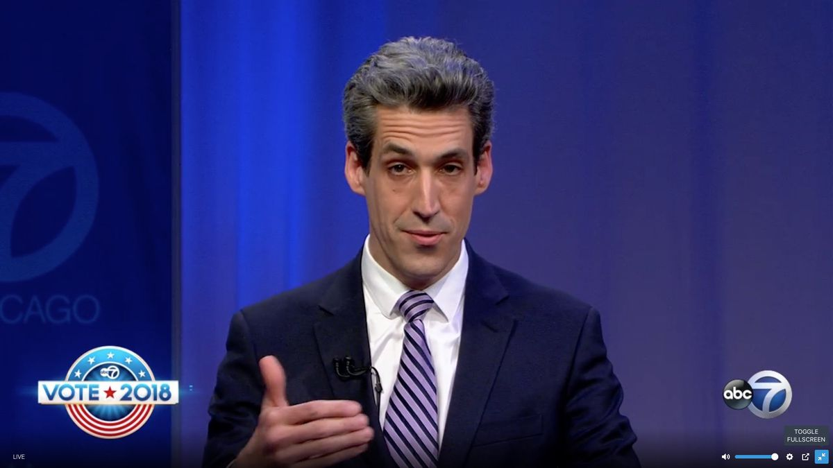 Democrat Daniel Biss participates in a gubernatorial debate sponsored by ABC 7 Chicago, the League of Women Voters of Illinois and Univision Chicago. Screen image.