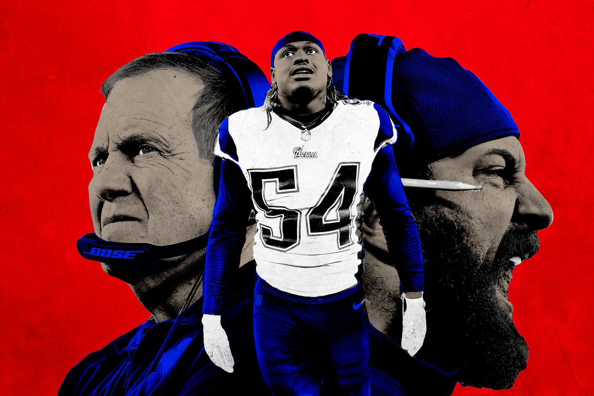 Collage of Bill Belichick, Dont'a Hightower, and Matt Patricia of the New England Patriots