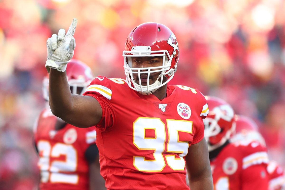 Kansas City Chiefs defensive tackle Chris Jones celebrates a play against the Tennessee Titans in the AFC Championship Game at Arrowhead Stadium.