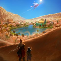 The town of Marquet, seated in the desert surrounding a blue oasis between large sand dunes with an airship flying overhead.