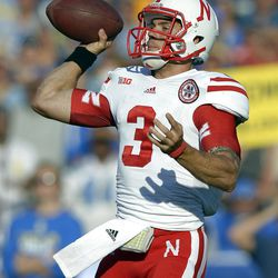 Nebraska quarterback Taylor Martinez passes during the first half of their NCAA football game against UCLA, Saturday, Sept. 8, 2012, in Pasadena, Calif.  (AP Photo/Mark J. Terrill)