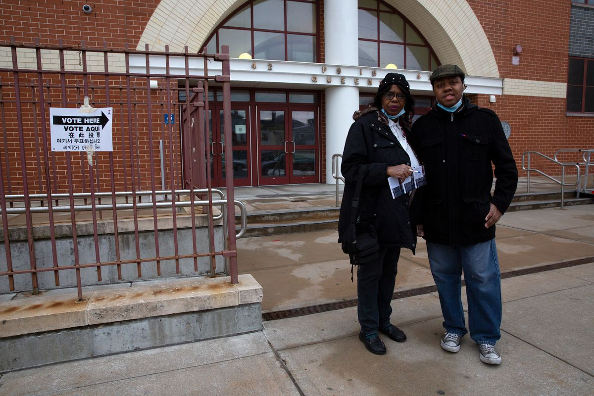 Child care provider Arlene Phipps and her son Yseen Madyun voted near their Far Rockaway home in the City Council District 31 special election on Tuesday.