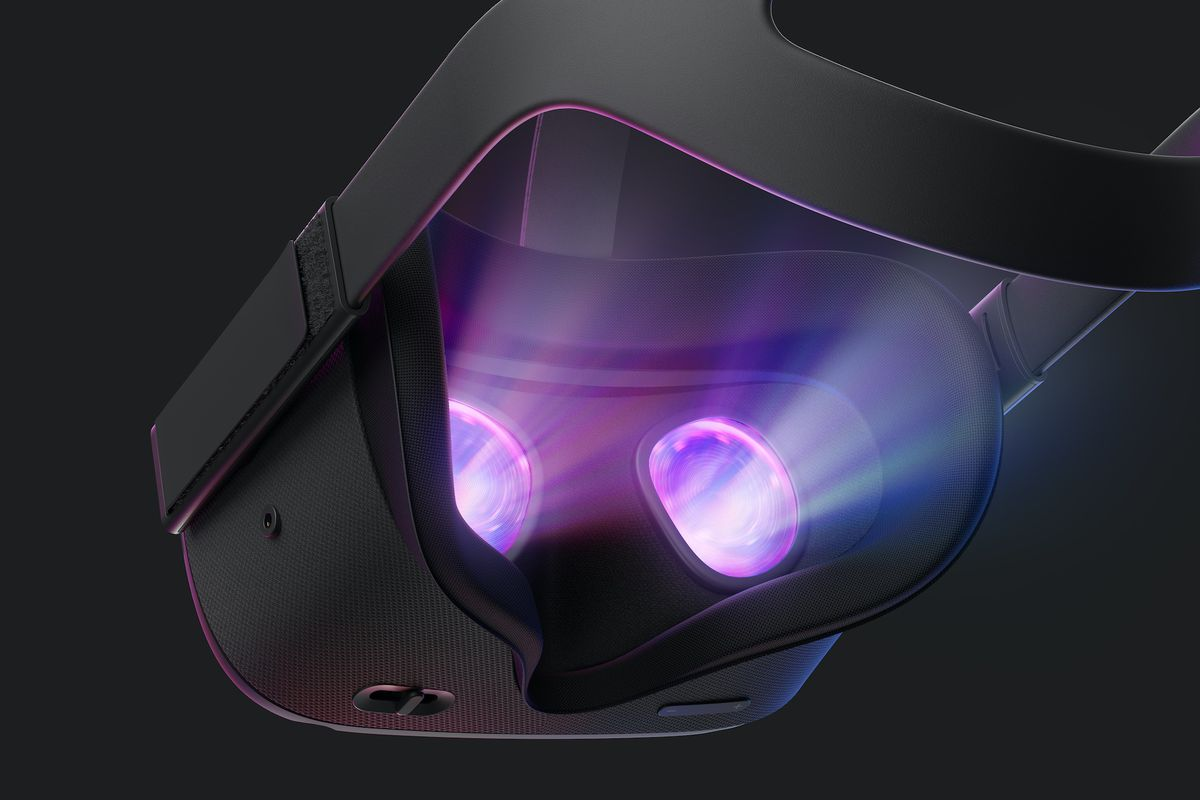 Product photo of the Oculus Quest VR headset with glowing lenses