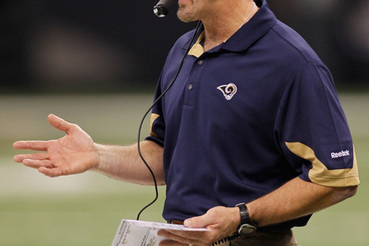 NEW ORLEANS LA - DECEMBER 12:  Head coach Steve Spagnuolo of the St. Louis Rams watches the game against the New Orleans Saints at the Louisiana Superdome on December 12 2010 in New Orleans Louisiana.  (Photo by Chris Graythen/Getty Images)