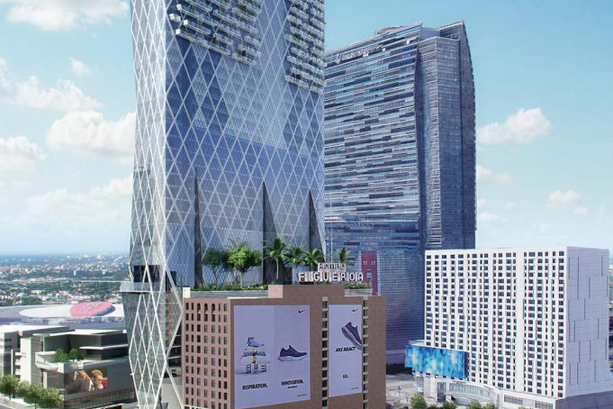 A rendering of a high-rise with a diamond-paned pattern on its glassy exterior.