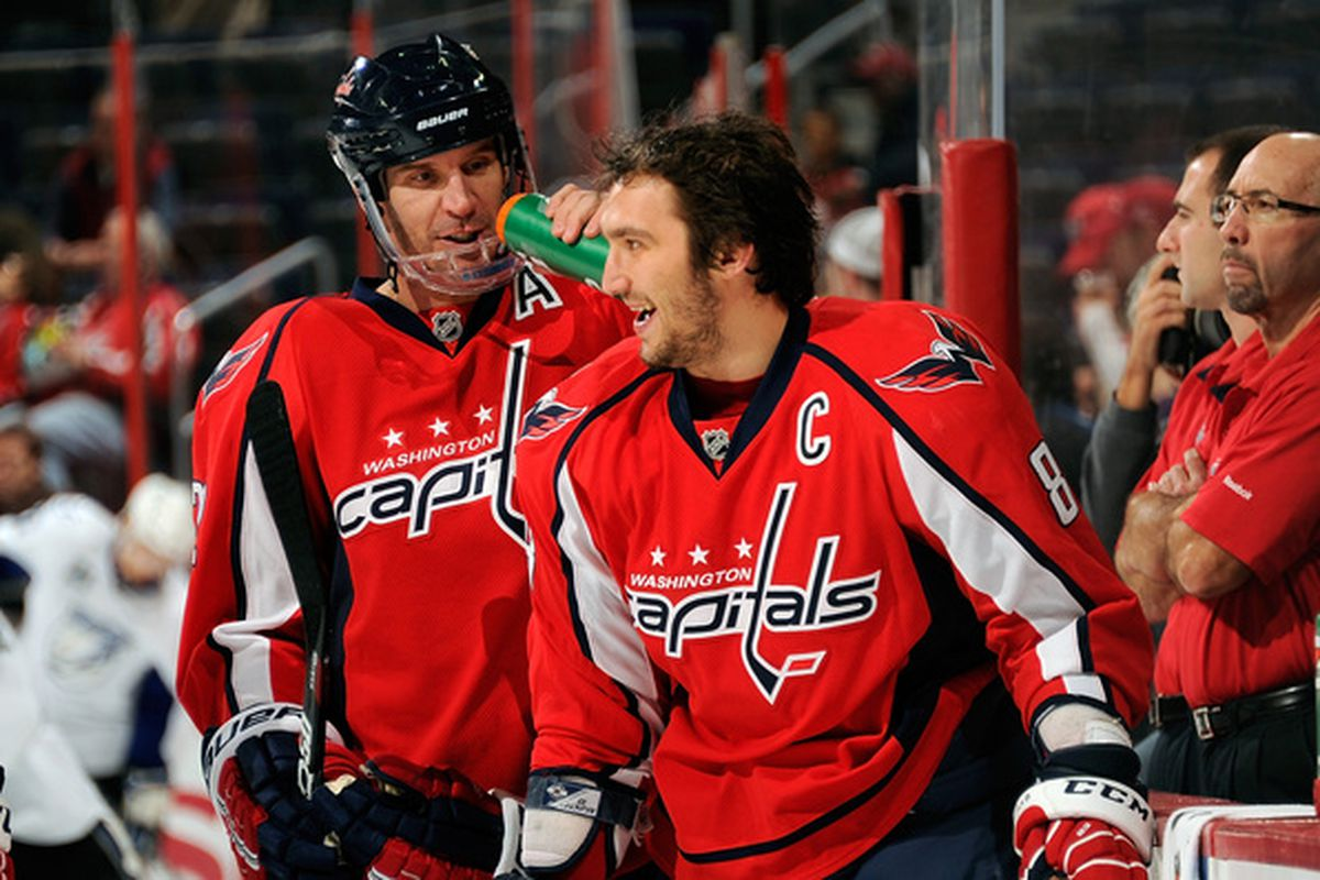 WASHINGTON - NOVEMBER 26:  Mike Knuble #22 and Alex Ovechkin #8 of the Washington Capitals warm up before the game against the Tampa Bay Lightning  at the Verizon Center on November 26 2010 in Washington DC.  (Photo by Greg Fiume/Getty Images)