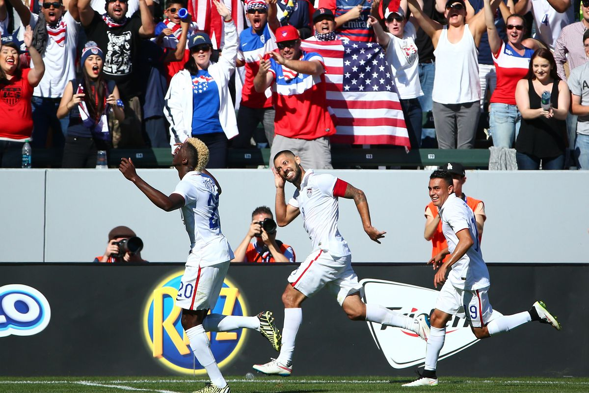 Clint Dempsey celebrates after scoring his 40th USA goal