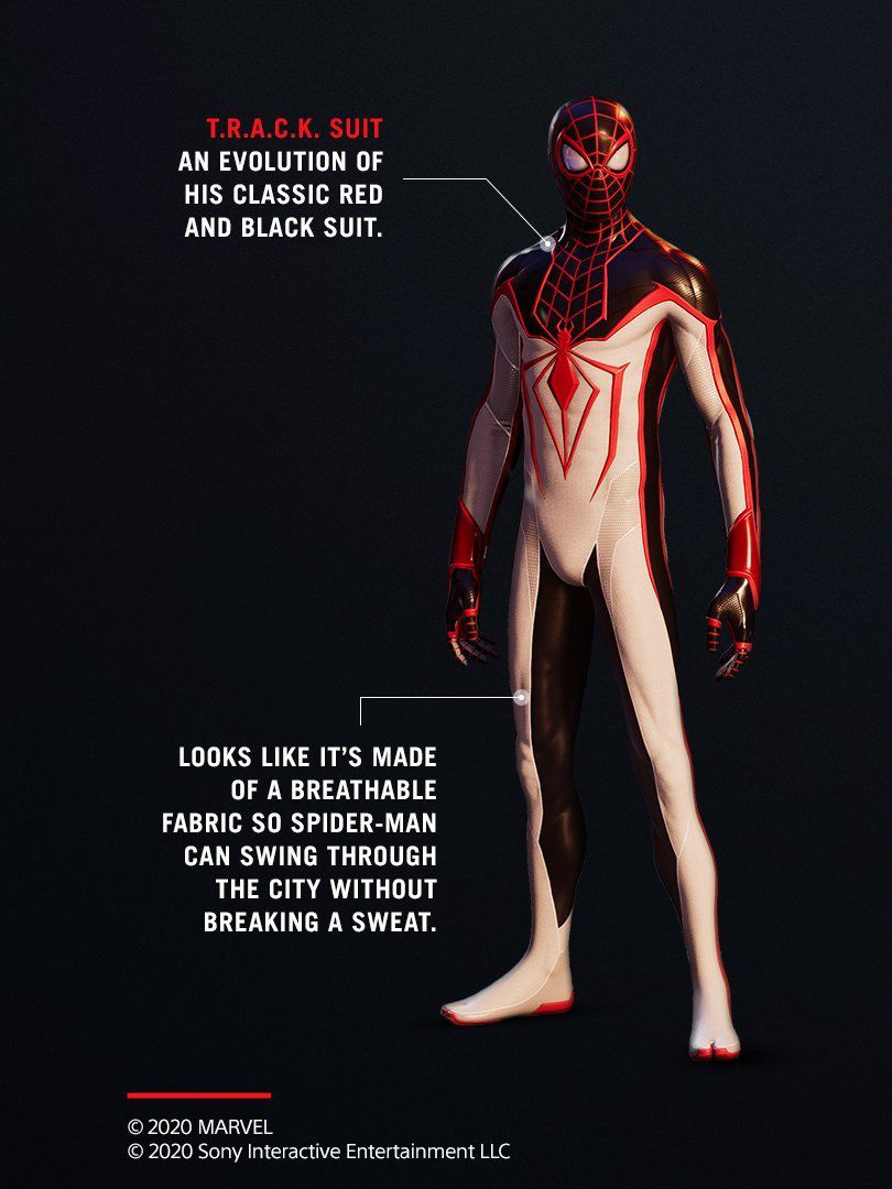 Miles Morales in his white, black, and red TRACK suit.